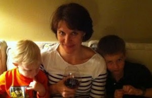 Suzanne enjoying relaxing at home with her children.
