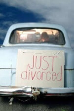 photo old car with just divorced sign