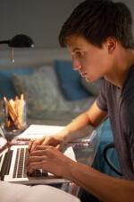 photo teenage boy in his room