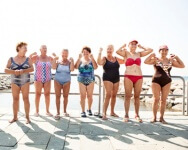 group photo of older woman in bathing suits