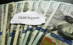 photo of child support note and 100 dollar bills
