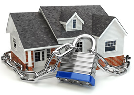 house with lock and chain